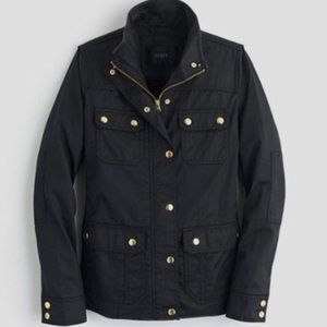 J. Crew Downtown Field Jacket in Black with Gold